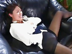 Hot Asian Stewardess Masturbating