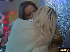 Girls kissing to tease the guys in danceclub