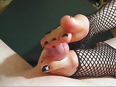 Fiona's Fishnet Footjob
