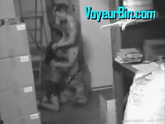 Couple caught fucking by a security cam
