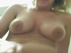 Amateur woman masturbates on his dick