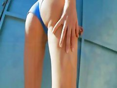 brunette in blue panties masturbating