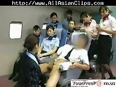 Asian Stewardess Teaching Babe