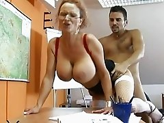 Naughty blonde teacher with big tits getting her pussy fucked