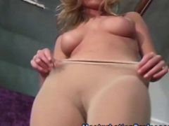 Nylons fetish blonde fingerfucking herself