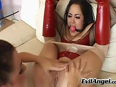 Cuddly lesbian babe in sexy lingerie pounded till orgasm with huge dildo and vibrator