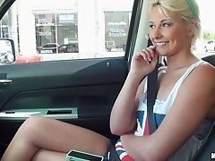 Blonde teen in British flag tank top fucked in a van