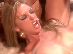 sexy blonde and Kimberly Kane enjoy hardcore foursome on the bed