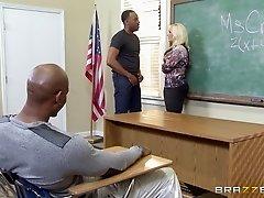 Slutty teacher deals with four black detention students alone