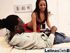 Sexy Latina Leslie Sierra takes the big black cock deep