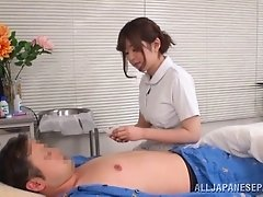 Horny Asian nurse with natural tits delivering a loving blowjob before getting bonked hardcore