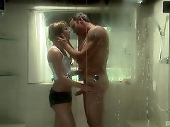 Blonde MILF Claire Robbins sucks balls and cock in the shower
