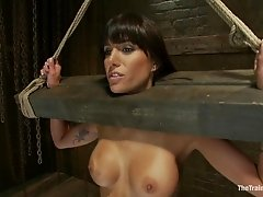 She is exhausted after hard bdsm training