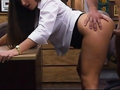 Big ass babe pawns her pussy and nailed in the back office