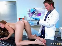 Long-haired chick impales herself on the doctor's pulsating sausage