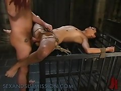 Asian Teen Gets Her First Try At A BDSM Game With A Big Cock