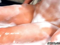 Awesome buxom Japanese hottie Miki looks hot while foamed