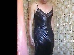 black vintage slip shower.