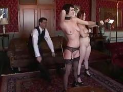 Two sex slaves exercises for their perverted maledom master BDSM