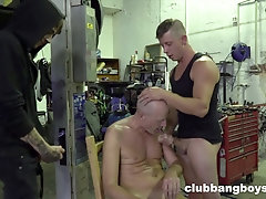 hairless guy eating his friends dicks before hard fuck on the chair