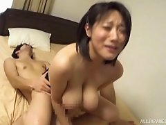 MMF threeway with an Asian babe with gigantic boobs Kaho Shibuya