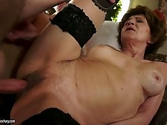 A horny granny throats a cock then gets fucked hard