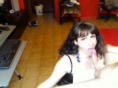 Buxom amateur brunette in high heels gives a sensual blowjob