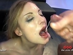 Bukkake for a pretty cum whore on her knees