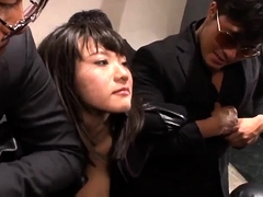 Stacked Japanese slut has a group of boys sharing her holes
