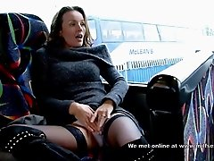 MILF masturbation in bus