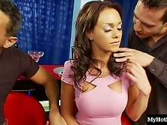 Seductive starlet Jaslyn gets pounded hard in a gangbang