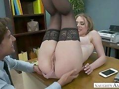 Lewd slender secretary Anya Olsen gives such a good blowjob to her boss