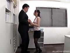 Japanese secretary Kase Kanako gets cum on her ass in pantyhose