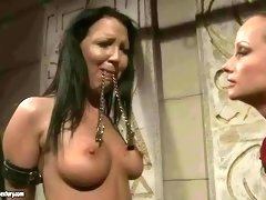 Classy mistress painfully punishing her slavegirl in her dungeon BDSM