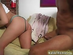 Natural boobs Katie enjoying big cock hardcore in interracial porn