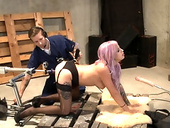 Tattooed submissive punk slut gets all her holes filled with big toys