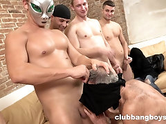 Hardcore food fetish gay orgy results in rivers of cum on the floor