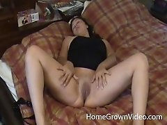 Chubby babe gets smashed missionary before masturbating erotically