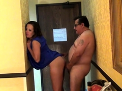 Attractive milf has a fat guy banging her pussy from behind