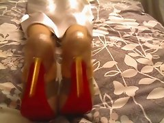 White satin nightie outfit Big Dorcet Louboutins in bed