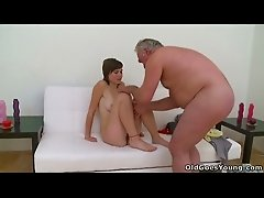 Euro babe Inna fucks fat old guy while sucking her BF's cock