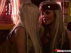 Two pirate babes have hot lesbian sex below deck on the ship