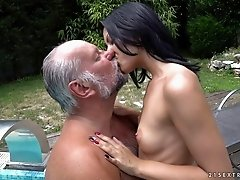 Vivien is quite glad to have a great time with the mature guy's cock