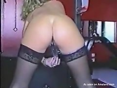 Round ass nympho babe is masturbating with dildo