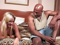 Blonde Cheyanne gets slammed hardcore in a nasty interracial action