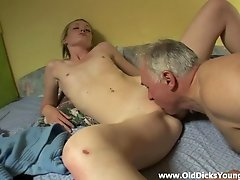 A old guy hooks up with a sexy chick and bangs her brains out
