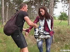 Insatiable brunette Nikki gets naked for a fuck in a forest