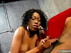 Crazy long fingernails on a sexy cock stroking black girl