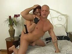 Busty brunette strumpet anal fucks her mature freak in doggy pose