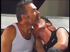 Three hot gay dudes buttfuck and suck each other on the staircase